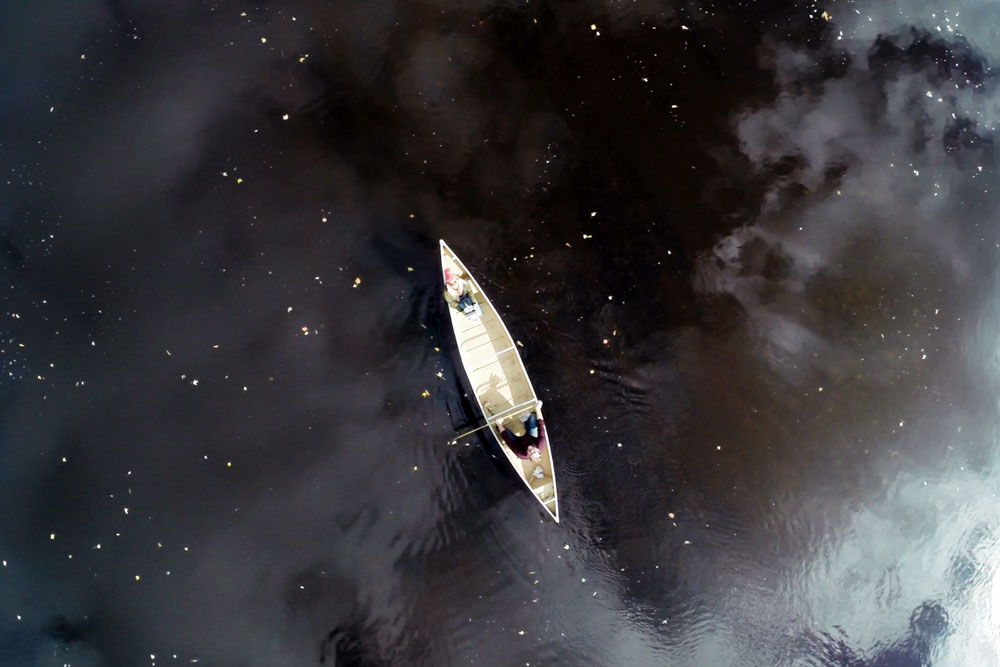 Drone selfie of a canoe taken by Renee Lusano
