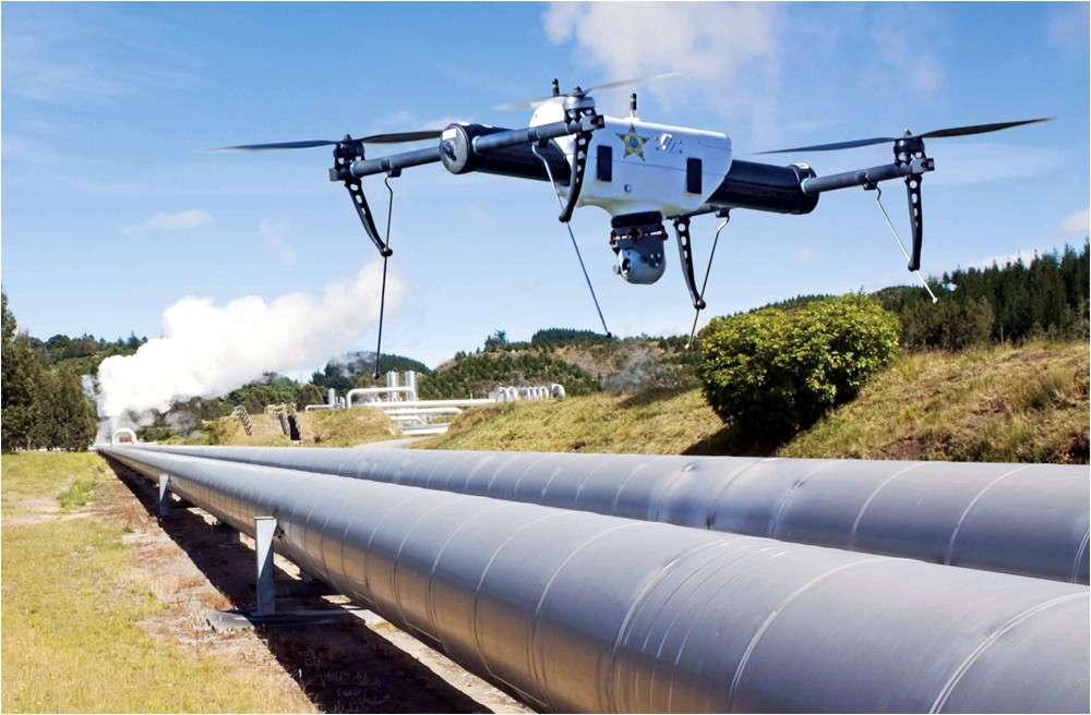 A drone inspecting a pipeline