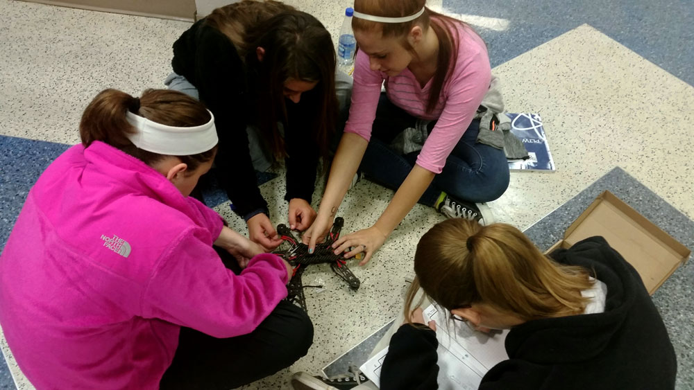 students build a drone