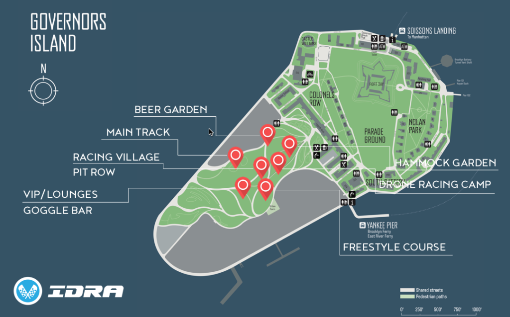 Map of Drone Nationals Venue on Governor's Island, NYC