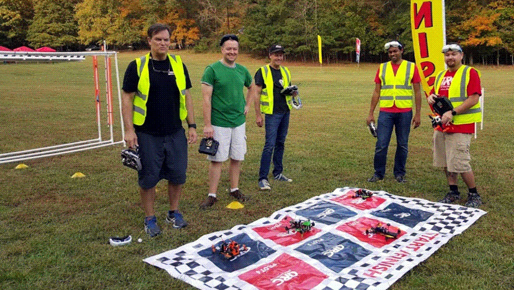 Members of the Drone Racing Club get ready