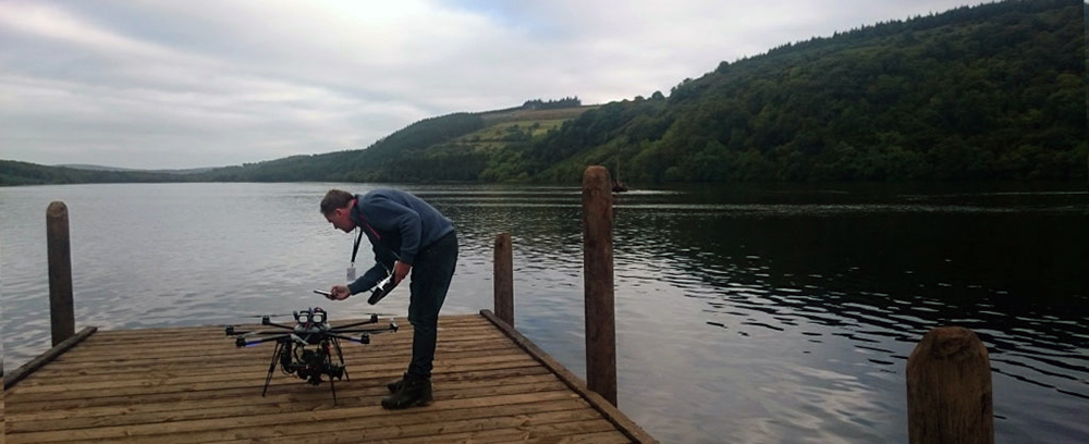 Steven Flynn readies a drone for flight